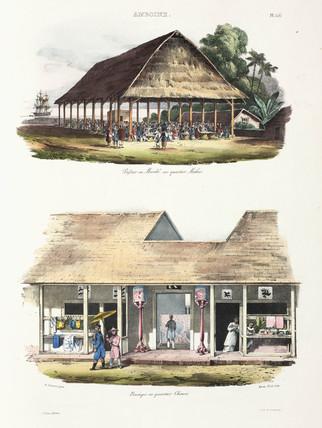 Market and shops, Ambon, 1826-1829.