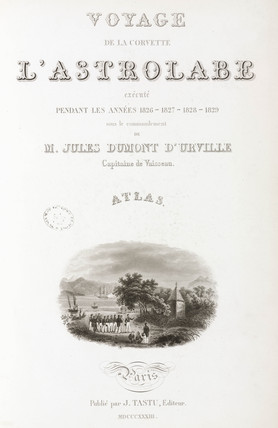 Title page of Dumont d'Urville's 'Voyage of discovery of the Astrolabe', 1833.