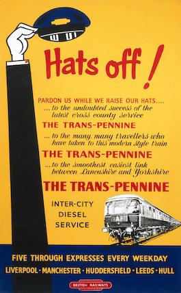 'Hats Off! Trans-Pennine Inter-City Diesel Service', BR poster, c 1950s.