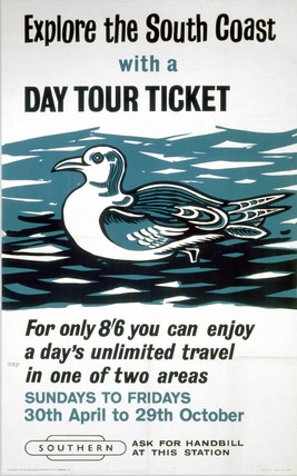 'Explore the South Coast with a Day Tour Ticket' BR (SR) poster, 1961.