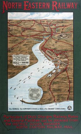 Hull Docks and the Humber Estuary, NER poster map, 1900-1915.