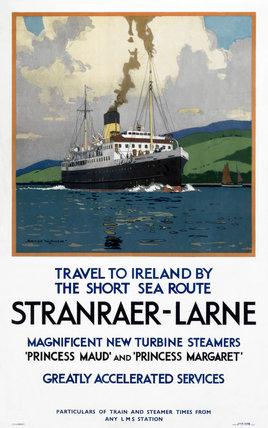 'Stranraer-Larne', LMS poster, c 1930s.