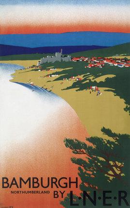 'Bamburgh by LNER', LNER poster, 1936.