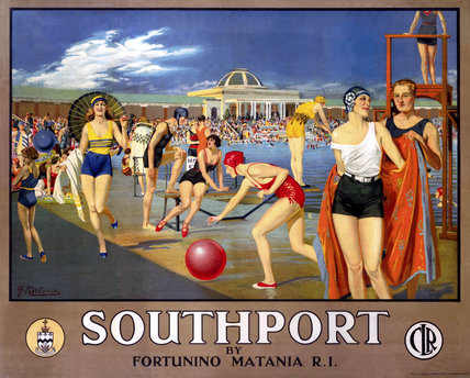 'Southport by Fortunino Matania', railway poster, c 1930s.