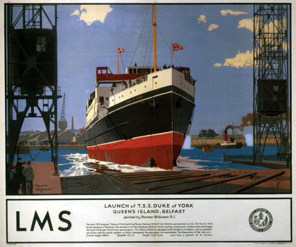 'Launch of Ts Duke of York', LMS poster, 1935.