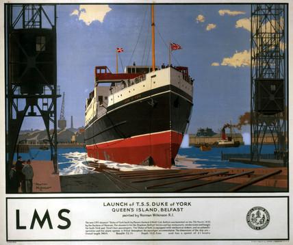 'Launch of Ts Duke of York', LMS poster, 1935.