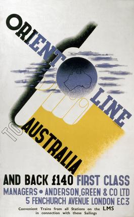 'Orient Line to Australia', LMS poster, 1923-1947.
