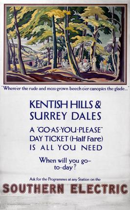 'Kentish Hills & Surrey Dales', SR poster, 1928.