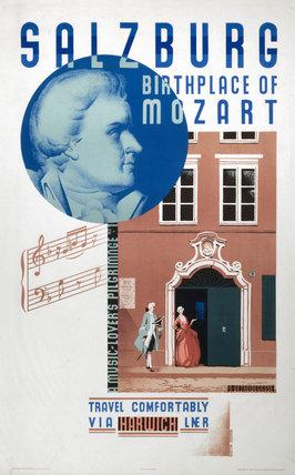 'Salzburg, Birthplace of Mozart', LNER poster, 1931.