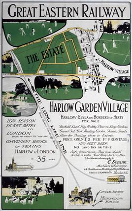 'Harlow Garden Village', GER poster, c 1910.