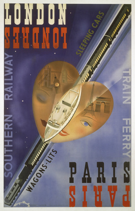 'London-Paris Train Ferry', SR poster, 1939.