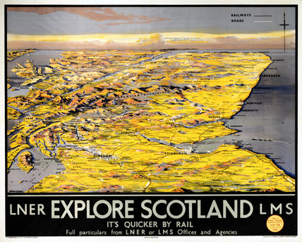 'Explore Scotland - It's Quicker by Rail', LNER/LMS poster, 1923-1947.