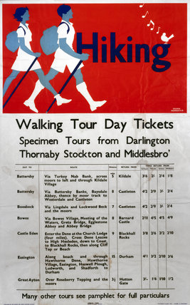 'Hiking - Walking Tour Day Tickets', LNER poster, 1923-1947.
