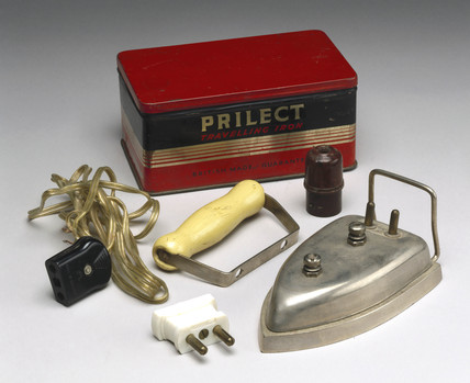 'Prilect' electric travelling iron, 1948-1960.