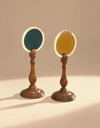 Pair of coloured glas discs, 1760.