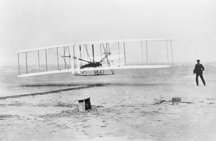 The Wright Brothers first powered and sustained flight, 17 December 1903.