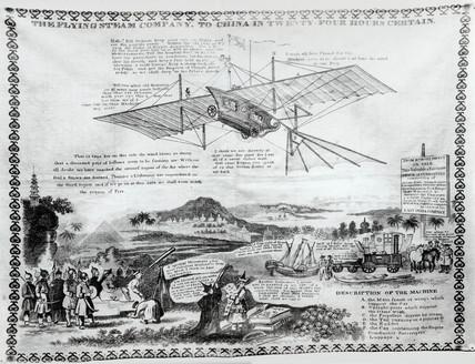 Handkerchief bearing impresion of Henson's aeroplane design, 1842.