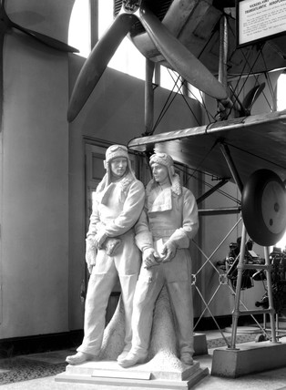 Statue of John Alcock, and Arthur Whitten Brown, British aviators, 1954.