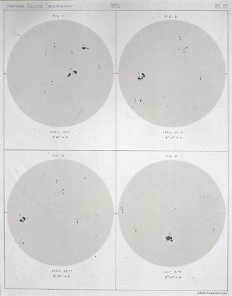 Four views of the Sun and Sunspots, 1872.