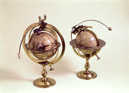 A pair of 3 inch celestial and terrestrial globes, 1731-1747.