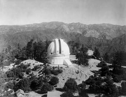 The Hooker Telescope Dome with shutter partly open, c 1917.
