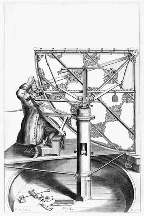 Hevelius's quadrant, c 1659. Plate from