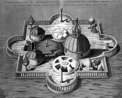 Brahe's observatory at Stjerneborg, Denmark, 1584.