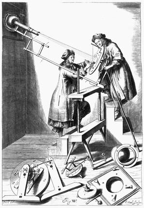 Observing a solar eclipse, 1673.