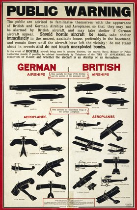 'Public Warning', aircraft recognition poster, 1915.
