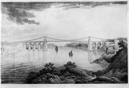 'View of the Suspension Bridge - Looking towards Beaumaris', c 1828.