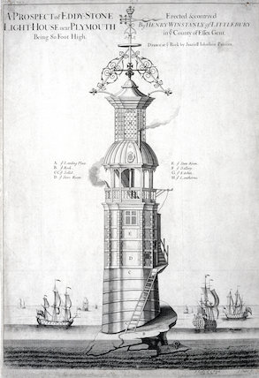 The first Eddystone lighthouse, Devon, c 1698.
