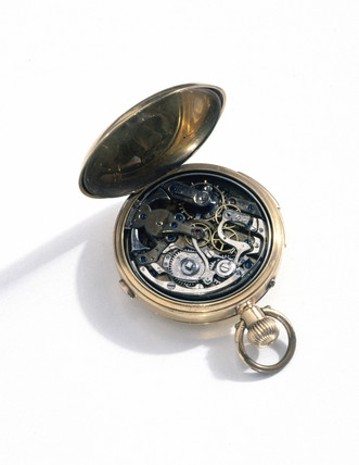 Pocket chronograph watch, c 1900.