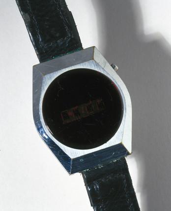 Fairchild digital quartz wristwatch with LED display, 1970-1979.