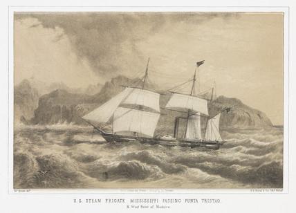 'US Steam Frigate Misisippi pasing Punta Tristao', 1853.