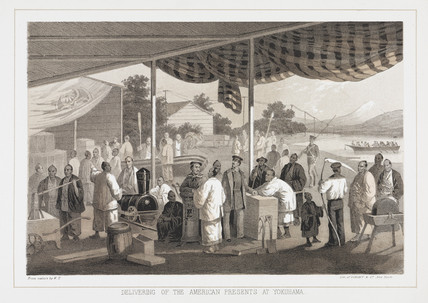 'Delivering of the American Presents at Yokuhama', c 1853-1854.