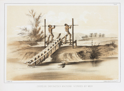 'Chinese Irrigating Machine Worked by Men', c 1853-1854.
