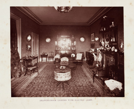 Drawing-room lit with electric light, 1884.