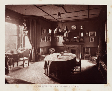 Dining-room lit with electric light, 1884.