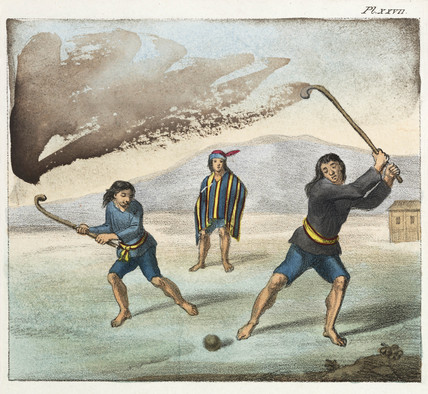Araucano Indians playing hockey, Chile, 1820-1821.