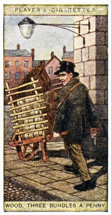 'Wood, three bundles a penny', trade card, 1916.