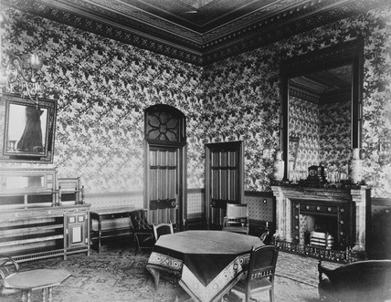 Private sitting room, Midland Grand Hotel, St Pancras Station, c 1876.