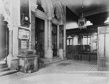 Entrance hall, Midland Grand Hotel, St Pancras station, London, c 1876.