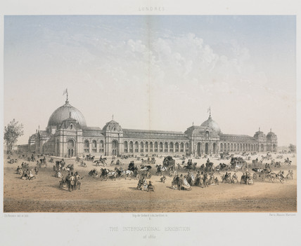Crowds outside the International Exhibition building, London, 1862.