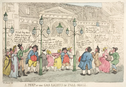 'A Peep at the Gas Lights in Pall Mall' c 1809.