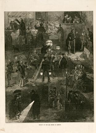 'Effects of the Gas Strike in London', c 1898.