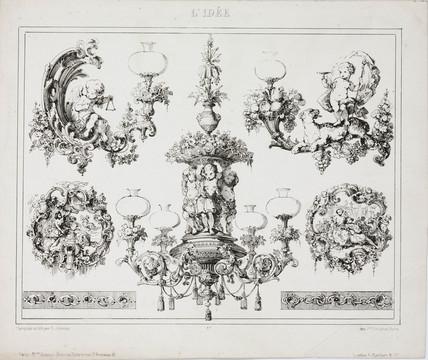 Gas or oil chandeliers, Paris, France, c 1860.