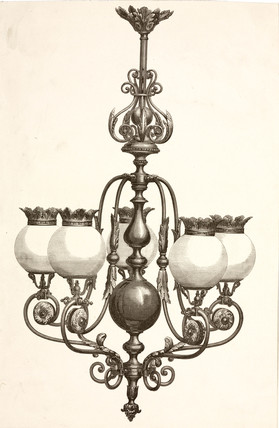 Gasolier, probably French, c 1860.