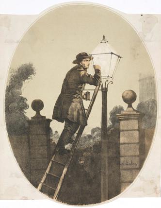 A lamplighter, c 1865.