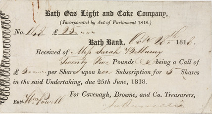 Company shares reciept, 1818.