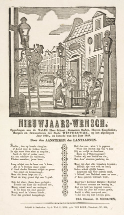 Lamplighters in Winterswijk, Holland, poster, 1848-1849.
